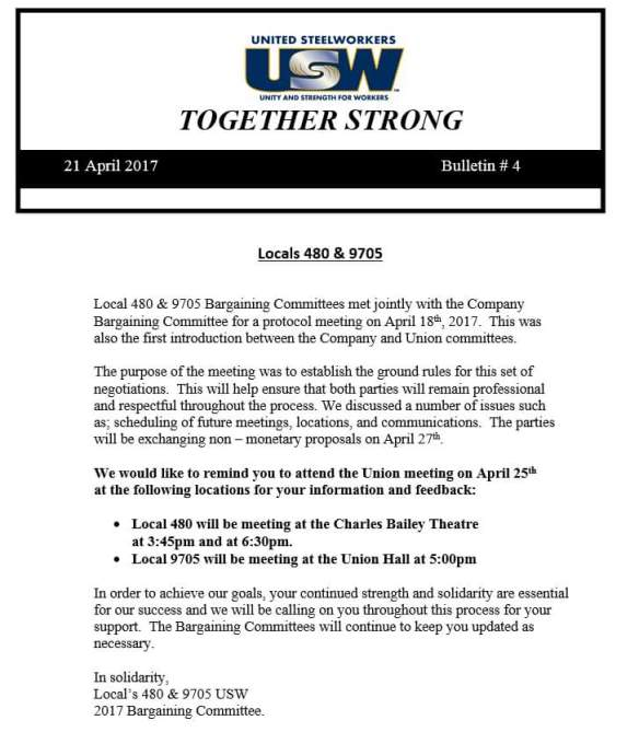 Teck Bargaining Bulletin #4
