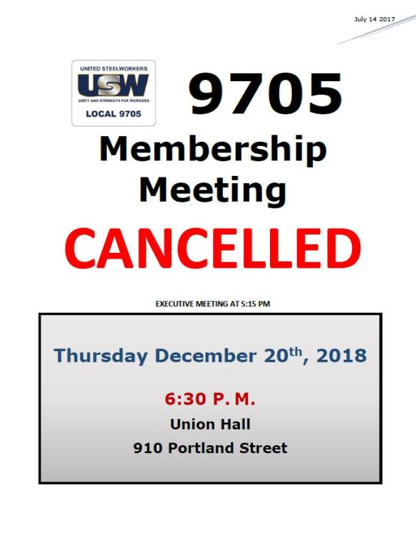 Dec 20 meeting cancelled