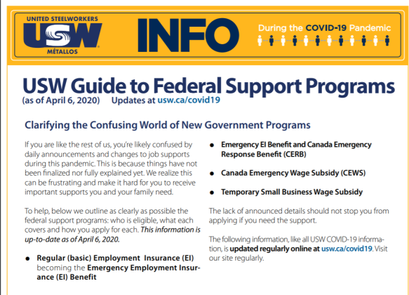 USW Guide to Federal Support Programs