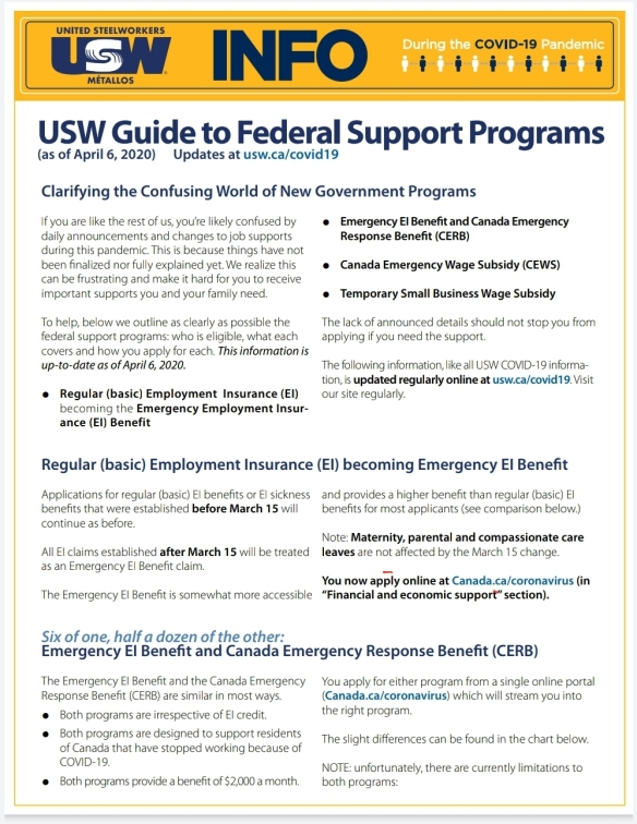 USW Guide to Government Covid Support April 7th